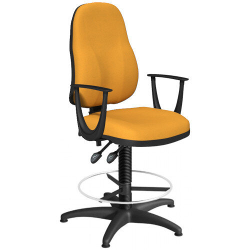 OA Series High Back Draughtsman Chair Bespoke Camira Xtreme Fabric with Fixed Arms Arms 550-810mm High Base with Chrome Footring &Glides