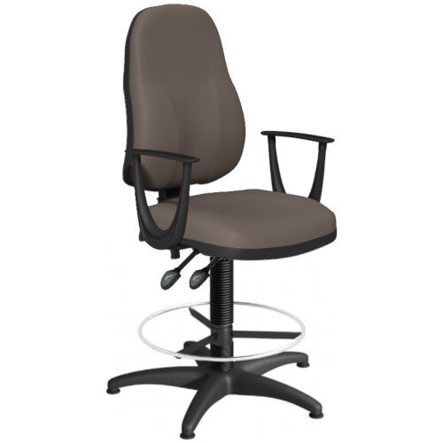 OA Series High Back Draughtsman Chair Bespoke Lotus PU with Fixed Arms Arms 550-810mm High Base with Chrome Footring &Glides