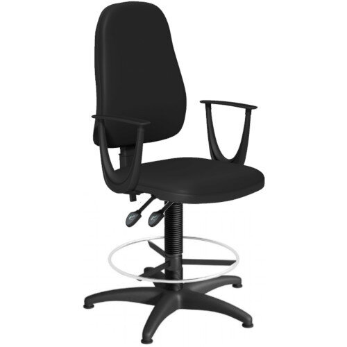 OA Series High Back Draughtsman Chair Black Vinyl with Fixed Arms Arms 550-810mm High Base with Chrome Footring &Glides