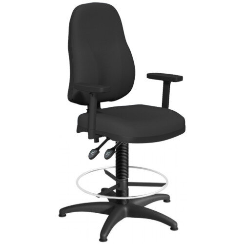 OA Series High Back Draughtsman Chair Black Fabric with Height Adjustable Arms 550-810mm High Base with Chrome Footring &Glides
