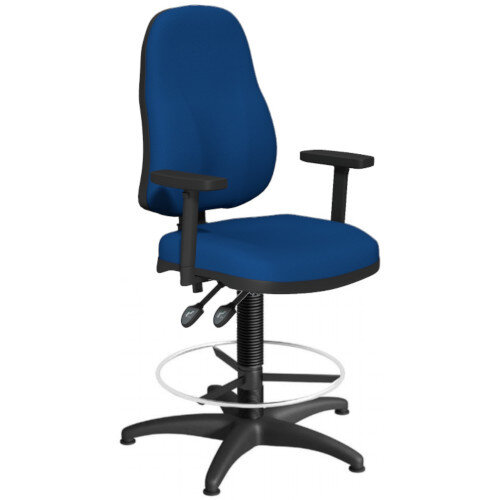 OA Series High Back Draughtsman Chair Blue Fabric with Height Adjustable Arms 550-810mm High Base with Chrome Footring &Glides