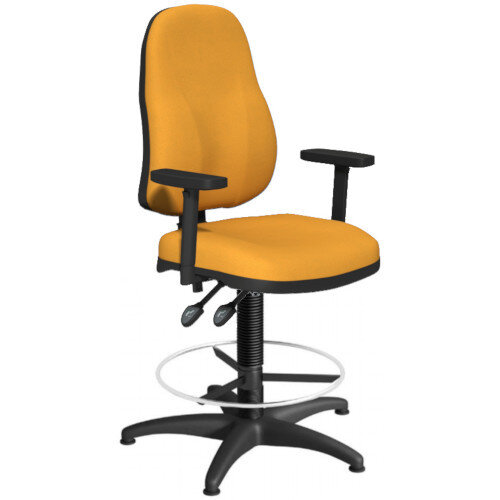 OA Series High Back Draughtsman Chair Bespoke Camira Xtreme Fabric with Height Adjustable Arms 550-810mm High Base with Chrome Footring &Glides