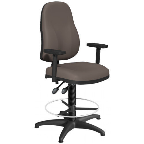OA Series High Back Draughtsman Chair Bespoke Lotus PU with Height Adjustable Arms 550-810mm High Base with Chrome Footring &Glides