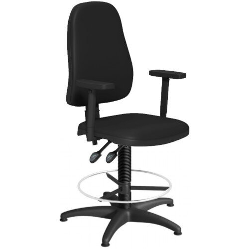 OA Series High Back Draughtsman Chair Black Vinyl with Height Adjustable Arms 550-810mm High Base with Chrome Footring &Glides