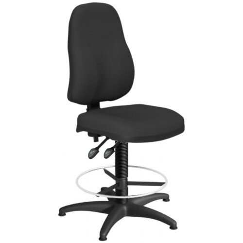 OA Series High Back Draughtsman Chair Black Fabric 550-810mm High Base with Chrome Footring &Glides