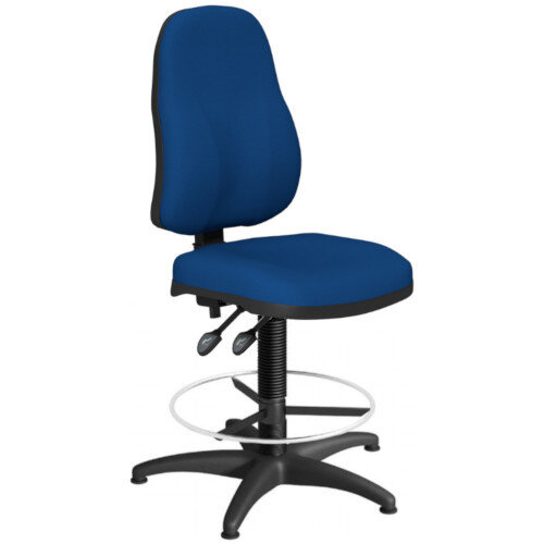 OA Series High Back Draughtsman Chair Blue Fabric 550-810mm High Base with Chrome Footring &Glides