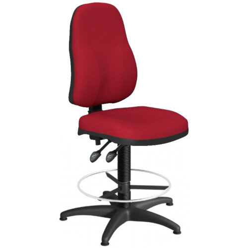 OA Series High Back Draughtsman Chair Bespoke Evert Fabric 550-810mm High Base with Chrome Footring &Glides