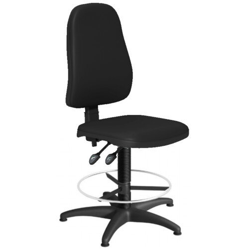 OA Series High Back Draughtsman Chair Black Vinyl 550-810mm High Base with Chrome Footring &Glides