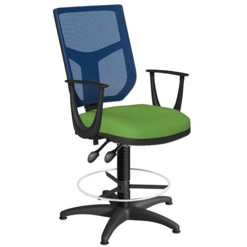 OA Series Draughtsman Chair with Adjustable Blue Mesh Back Fixed Arms &Bespoke Camira Blazer Wool Seat 550-810mm High Base with Chrome Footring &Glides
