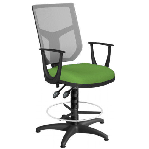 OA Series Draughtsman Chair with Adjustable Grey Mesh Back Fixed Arms &Bespoke Camira Blazer Wool Seat 550-810mm High Base with Chrome Footring &Glides