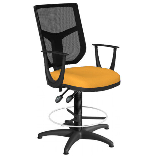 OA Series Draughtsman Chair with Adjustable Black Mesh Back Fixed Arms &Bespoke Camira Xtreme Fabric Seat 550-810mm High Base with Chrome Footring &Glides