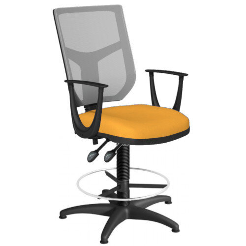 OA Series Draughtsman Chair with Adjustable Grey Mesh Back Fixed Arms &Bespoke Camira Xtreme Fabric Seat 550-810mm High Base with Chrome Footring &Glides