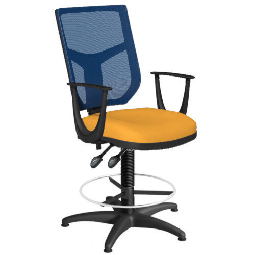 OA Series Draughtsman Chair with Adjustable Blue Mesh Back Fixed Arms &Bespoke Camira Xtreme Fabric Seat 550-810mm High Base with Chrome Footring &Glides