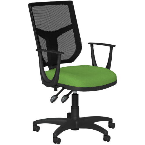 OA Series Mesh Back Office Chair with Adjustable Black Mesh Back Fixed Arms &Bespoke Camira Blazer Wool Seat