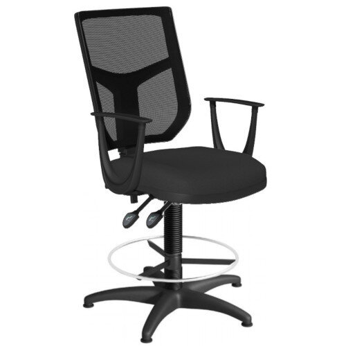 OA Series Draughtsman Chair with Adjustable Black Mesh Back Fixed Arms &Black Evert Fabric Seat 550-810mm High Base with Chrome Footring &Glides