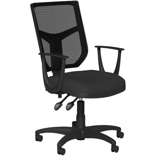OA Series Mesh Back Office Chair with Adjustable Black Mesh Back Fixed Arms &Black Evert Fabric Seat