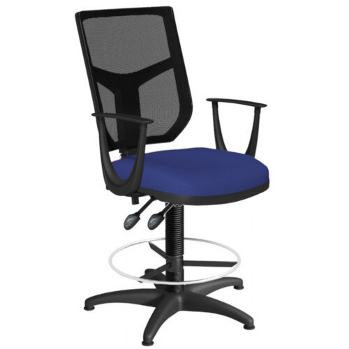 OA Series Draughtsman Chair with Adjustable Black Mesh Back Fixed Arms &Blue Evert Fabric Seat 550-810mm High Base with Chrome Footring &Glides
