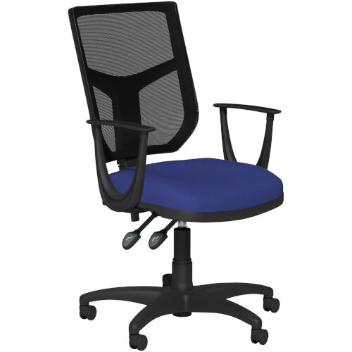 OA Series Mesh Back Office Chair with Adjustable Black Mesh Back Fixed Arms &Blue Evert Fabric Seat