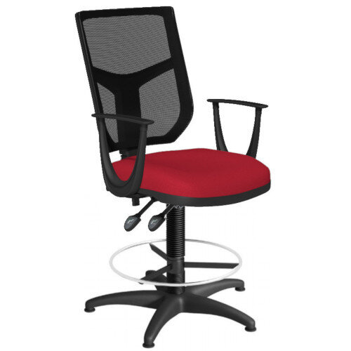 OA Series Draughtsman Chair with Adjustable Black Mesh Back Fixed Arms &Bespoke Evert Fabric Seat 550-810mm High Base with Chrome Footring &Glides