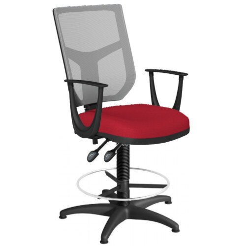 OA Series Draughtsman Chair with Adjustable Grey Mesh Back Fixed Arms &Bespoke Evert Fabric Seat 550-810mm High Base with Chrome Footring &Glides