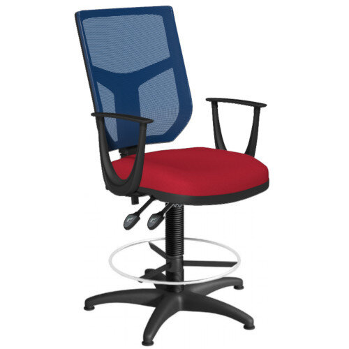 OA Series Draughtsman Chair with Adjustable Blue Mesh Back Fixed Arms &Bespoke Evert Fabric Seat 550-810mm High Base with Chrome Footring &Glides