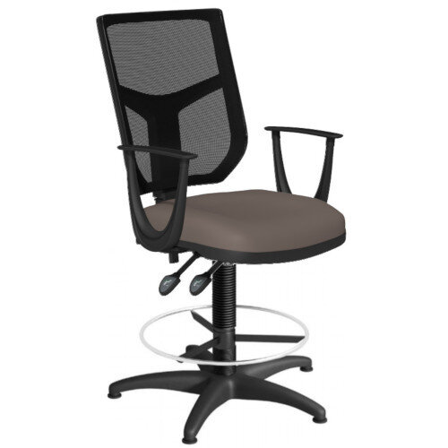 OA Series Draughtsman Chair with Adjustable Black Mesh Back Fixed Arms &Bespoke Lotus PU Seat 550-810mm High Base with Chrome Footring &Glides