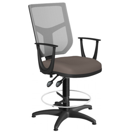 OA Series Draughtsman Chair with Adjustable Grey Mesh Back Fixed Arms &Bespoke Lotus PU Seat 550-810mm High Base with Chrome Footring &Glides