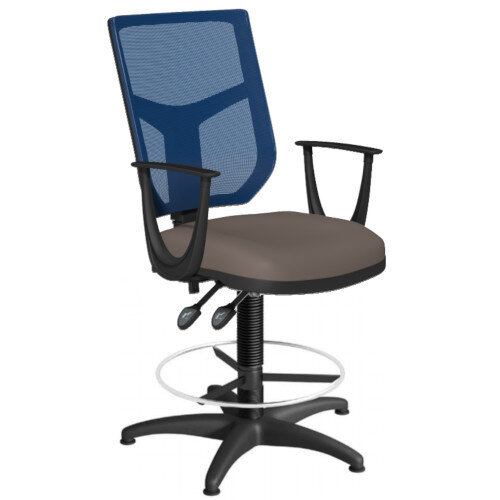 OA Series Draughtsman Chair with Adjustable Blue Mesh Back Fixed Arms &Bespoke Lotus PU Seat 550-810mm High Base with Chrome Footring &Glides