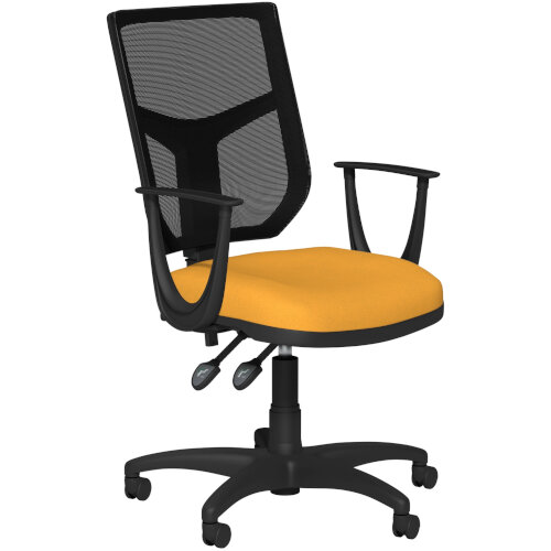 OA Series Mesh Back Office Chair with Adjustable Black Mesh Back Fixed Arms &Bespoke Camira Xtreme Fabric Seat