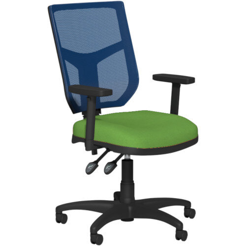 OA Series Draughtsman Chair with Adjustable Blue Mesh Back Adjustable Arms &Bespoke Camira Blazer Wool Seat 550-810mm High Base with Chrome Footring &Glides