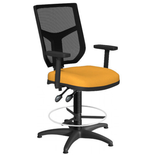 OA Series Draughtsman Chair with Adjustable Black Mesh Back Adjustable Arms &Bespoke Camira Xtreme Fabric Seat 550-810mm High Base with Chrome Footring &Glides
