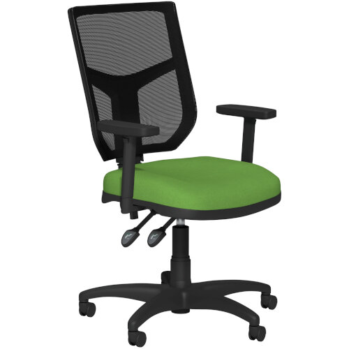 OA Series Mesh Back Office Chair with Adjustable Black Mesh Back Adjustable Arms &Bespoke Camira Blazer Wool Seat