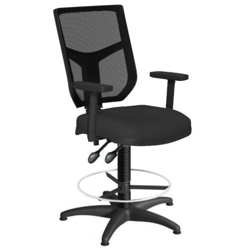 OA Series Draughtsman Chair with Adjustable Black Mesh Back Adjustable Arms &Black Evert Fabric Seat 550-810mm High Base with Chrome Footring &Glides