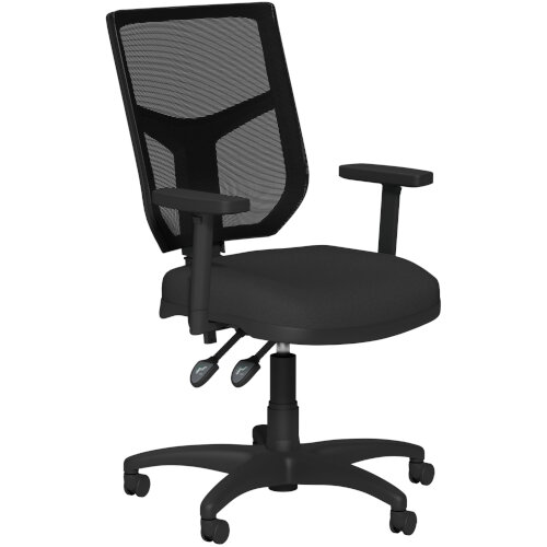 OA Series Mesh Back Office Chair with Adjustable Black Mesh Back Adjustable Arms &Black Evert Fabric Seat