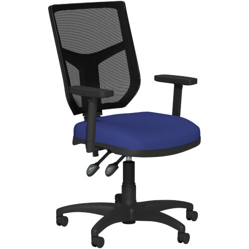 OA Series Mesh Back Office Chair with Adjustable Black Mesh Back Adjustable Arms &Blue Evert Fabric Seat