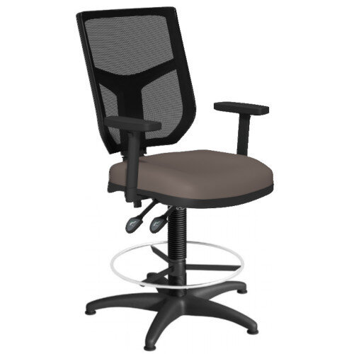 OA Series Draughtsman Chair with Adjustable Black Mesh Back Adjustable Arms &Bespoke Lotus PU Seat 550-810mm High Base with Chrome Footring &Glides