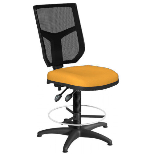OA Series Draughtsman Chair with Adjustable Black Mesh Back Bespoke Camira Xtreme Fabric Seat 550-810mm High Base with Chrome Footring &Glides