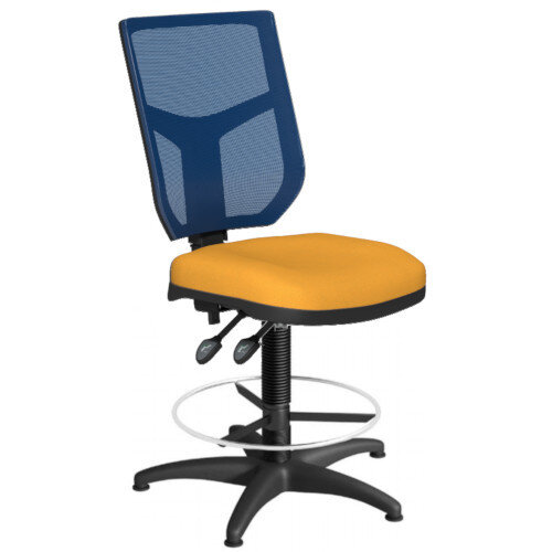 OA Series Draughtsman Chair with Adjustable Blue Mesh Back Bespoke Camira Xtreme Fabric Seat 550-810mm High Base with Chrome Footring &Glides