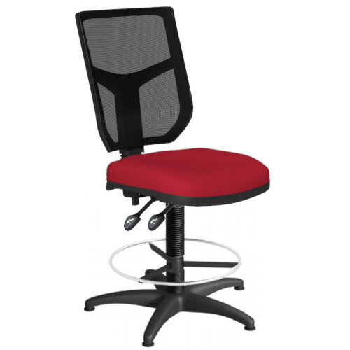 OA Series Draughtsman Chair with Adjustable Black Mesh Back &Bespoke Evert Fabric Seat 550-810mm High Base with Chrome Footring &Glides