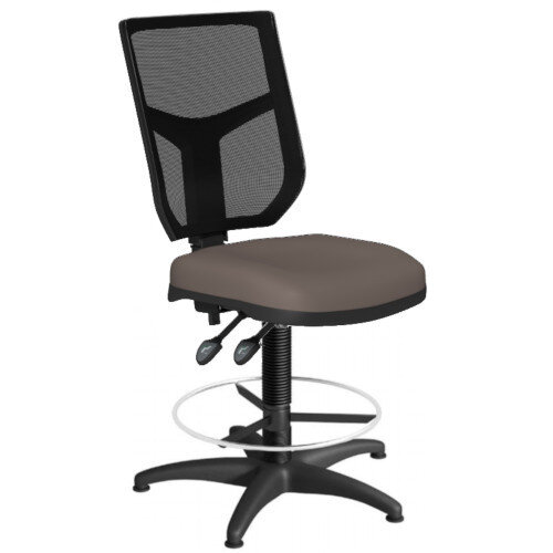 OA Series Draughtsman Chair with Adjustable Black Mesh Back &Bespoke Lotus PU Seat 550-810mm High Base with Chrome Footring &Glides