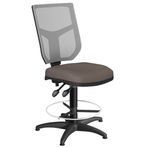 OA Series Draughtsman Chair with Adjustable Grey Mesh Back &Bespoke Lotus PU Seat 550-810mm High Base with Chrome Footring &Glides