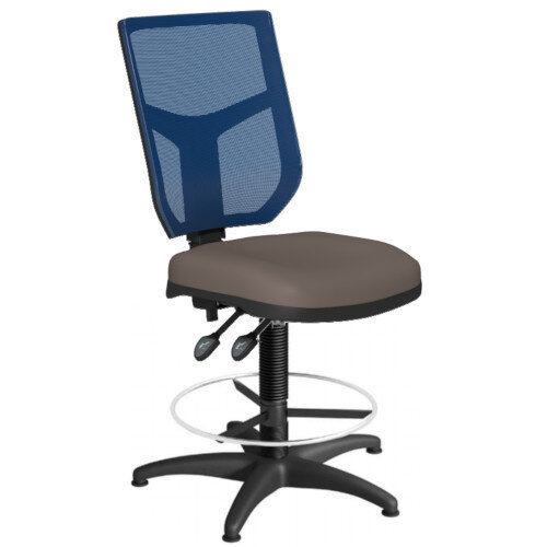 OA Series Draughtsman Chair with Adjustable Blue Mesh Back &Bespoke Lotus PU Seat 550-810mm High Base with Chrome Footring &Glides