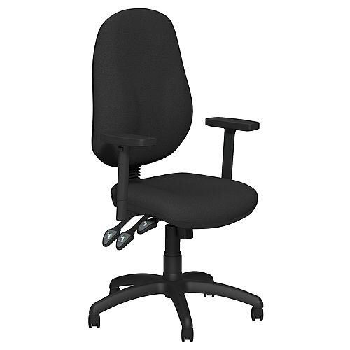 O.B Series Office Chair Fabric Seat Black Base &Adjustable Arms Black