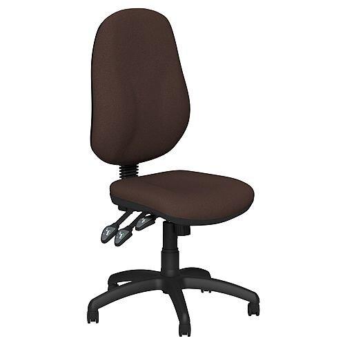 O.B Series Office Chair Fabric Seat Black Base Brown