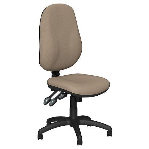 O.B Series Office Chair Fabric Seat Black Base Coffee Brown