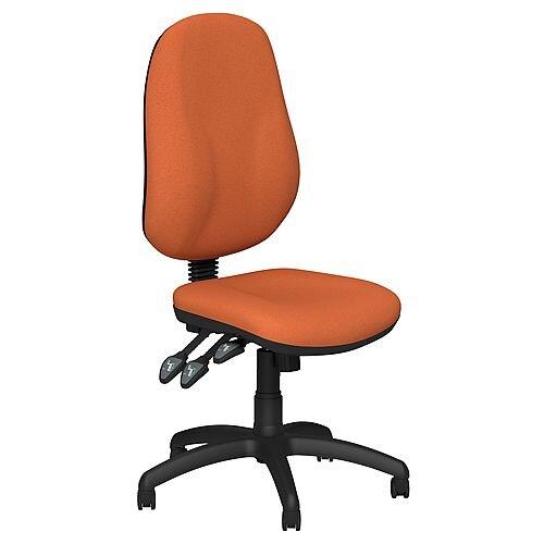 O.B Series Office Chair Fabric Seat Black Base Orange