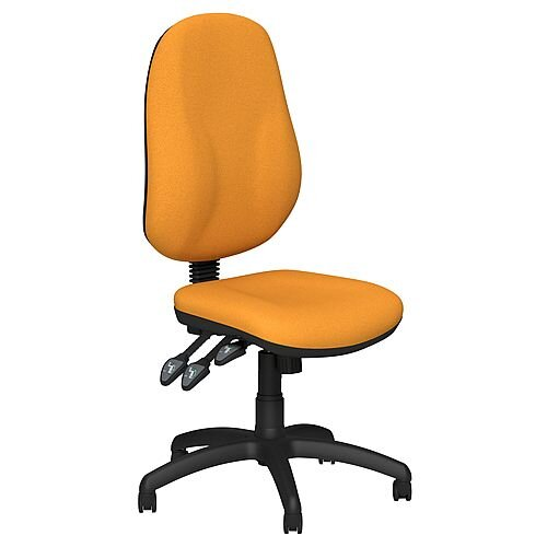 O.B Series Office Chair Fabric Seat Black Base Yellow