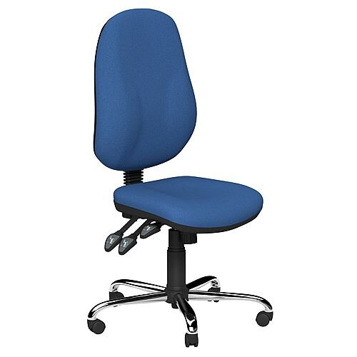 O.B Series Office Chair Fabric Seat Chrome Base Blue
