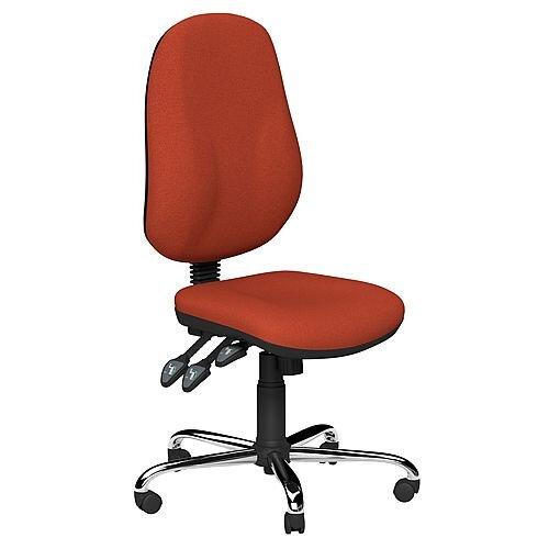 O.B Series Office Chair Fabric Seat Chrome Base Dark Orange