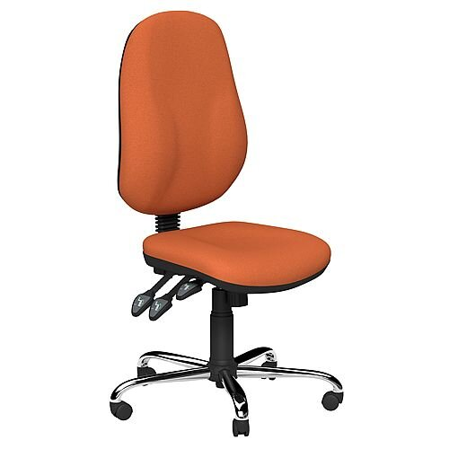 O B Series Office Chair Fabric Seat Chrome Base Orange